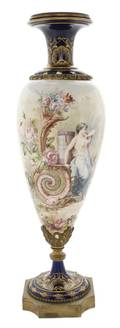 A Sevres Style Porcelain and Gilt Metal Mounted Urn