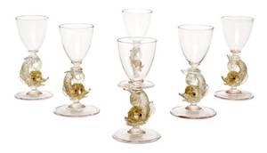 A Set of Six Venetian Glass Cordials