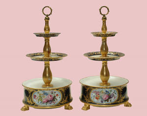 110 19th C Pair Old Paris Three Tier Dessert Stands
