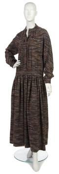 A Galanos Wool Striped Wool Dress