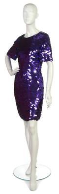 A Purple AllOver Paillette Cocktail Dress