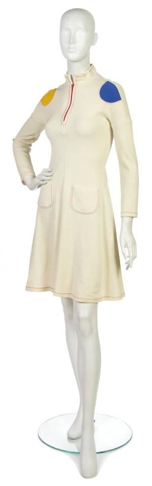 A Stephen Burrows Cream Wool Tunic Dress