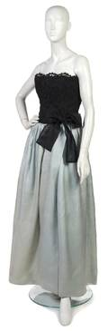 A Givenchy Couture Black Lace and Blue Silk Evening Gown