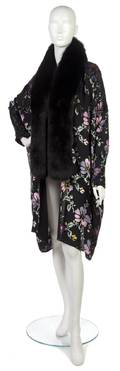 A Christian Dior Black Floral Cut Velvet Evening Jacket