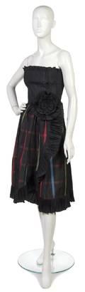 A Valentino Black and Plaid Silk Cocktail Dress