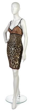 A Valentino Leopard Sequin and Bronze Lace Cocktail Dress