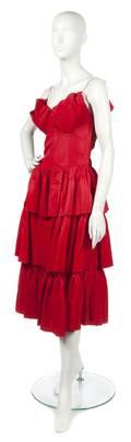 A Red Taffeta Evening Dress