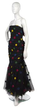 A Scaasi Black Tulle and Multicolor Polka Dot Evening Gown