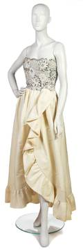 An Arnold Scaasi Ivory Silk and Silver Sequin Evening Gown