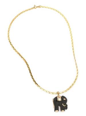 A 14 Karat Yellow Gold and Onyx Elephant Pendant Necklace