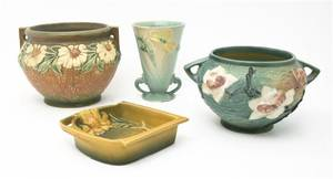 A Collection of Roseville Pottery Vases