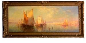 89 Carl W Muller Venetian Boats Oil On Canvas