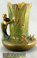 104 Gilt Metal Vase Signed by Perron Nouveau Maiden