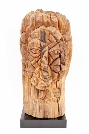 Modern Carved Wood Figural Sculpture
