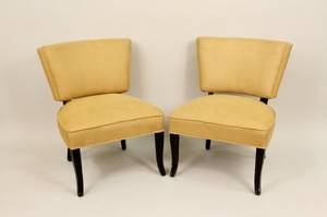 Pair of Sand Colored Burlap Side Chairs