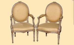 156 Pair Yellow Upholstered Arm Chairs