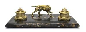 A Continental Marble and Gilt Bronze Encrier