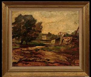 187 Gerrit Hondius Landscape with Bridge Oil on Board