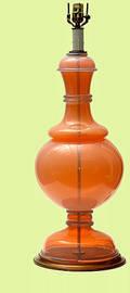 166 Unusual Bulbous Murano Pink Glass Lamp