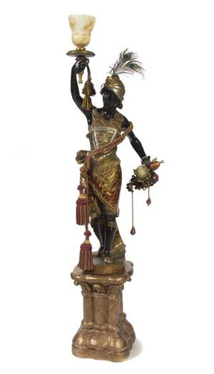 A Venetian Painted and Parcel Gilt Blackamoor Torchiere