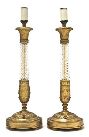 A Pair of Austrian Gilt Metal and Glass Candlestick Lamps