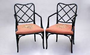 99 Pair Regency Chairs Black Painted Bamboo Style