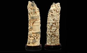 92 Large Elephant Ivory Carved Tusk