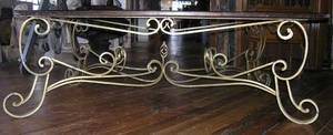 A FrenchBelgian Art Deco Wrought Iron Pine Top Dining Table