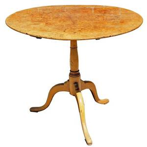 A Swedish Gustavian Birch and Alder Round TiltTop Tripod Table