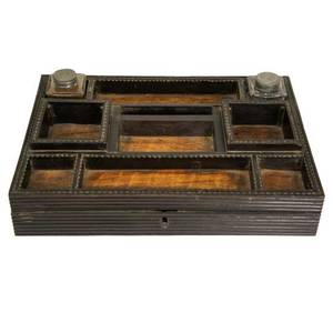 An Anglo Indian Regency Style Ebony and Satinwood Writing Desk Box