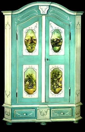 141 Italian Painted Two Door Armoire