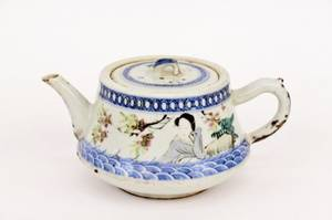 Oriental Porcelain Teapot with Figural Decoration