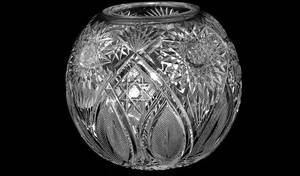 220 20th C Crystal Cut Glass Rose Vase