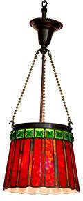 208 Tiffany Bronze Hanging Light Fixture Green Amber