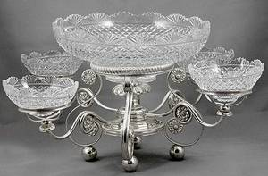 213 Silverplate and Cut Glass Epergne