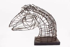 Large Wire Horse Bust Sculpture