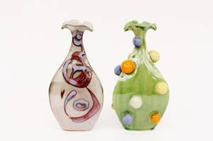 Two Batton Clayworks Bud Vases