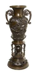 A Japanese Bronze Vase and Stand