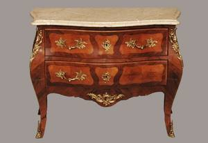 195 French Louis XV Style Marble Top Commode