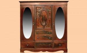 138 English Inlaid Mirrored Three Door Amoire
