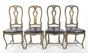 A Set of Four Continental Painted Metal Dining Chairs