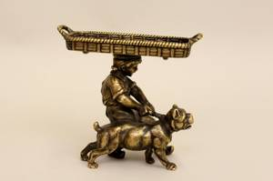 A Figural Bronze Toothpick Holder