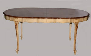 261 French Provincial Style Oval Walnut Dining Table