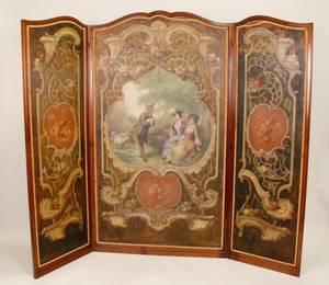 Hand Painted Three Panel Screen