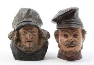 Two Terracotta Figural Tobacco Jars