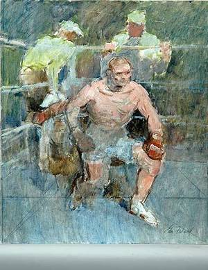 251 The Boxer Oil on Canvas Board by Edmund F Ward