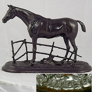 215 PJ Mene Bronze Sculpture of a Horse by a Fence