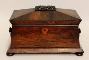 19th C Walnut Footed Tea Casket