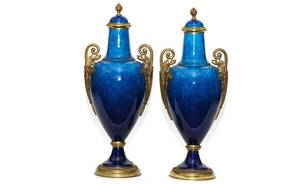 247A Sevres Blue Glazed Bronze Mounted Covered Urns