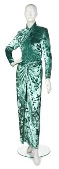 A Galanos Aqua Crushed Velvet Evening Gown